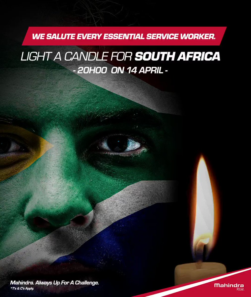 The candle is a symbol of hope. It drives out darkness and instills light in the lives of South Africa. The heroes @Mahindra_SA  wants to salute resemble hope and what a candle means at this time. Just like candles, they burn themselves up to give others light.🕯️#WithYouAlways