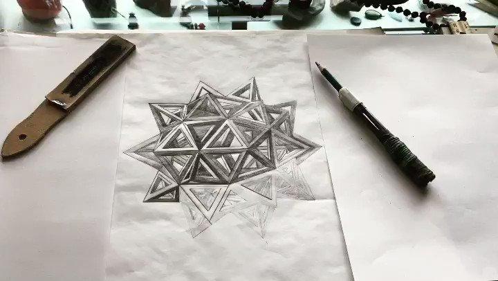 Dodecahedron drawing on paper #artforsale pic.twitter.com/eTcB7Slen5