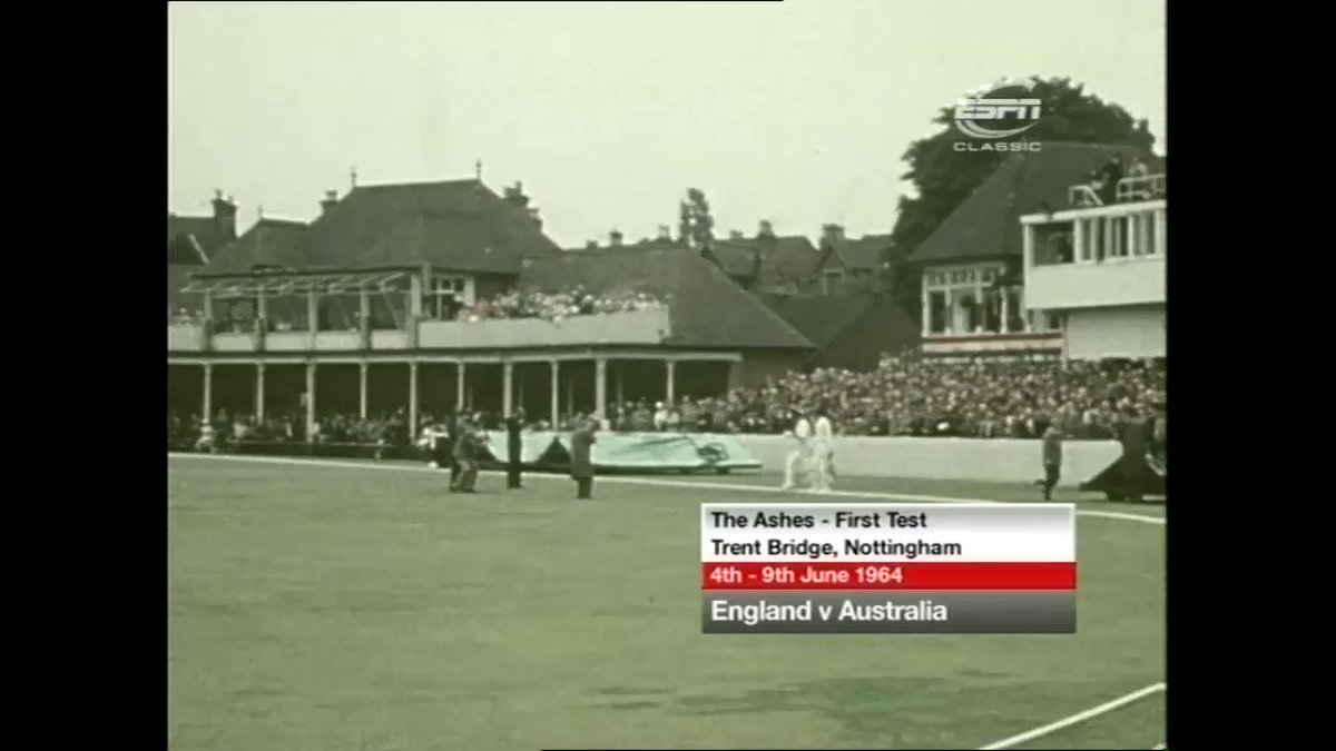 Geoff Boycott's test debut, 1964. In colour! Some gold here! Solid defence.