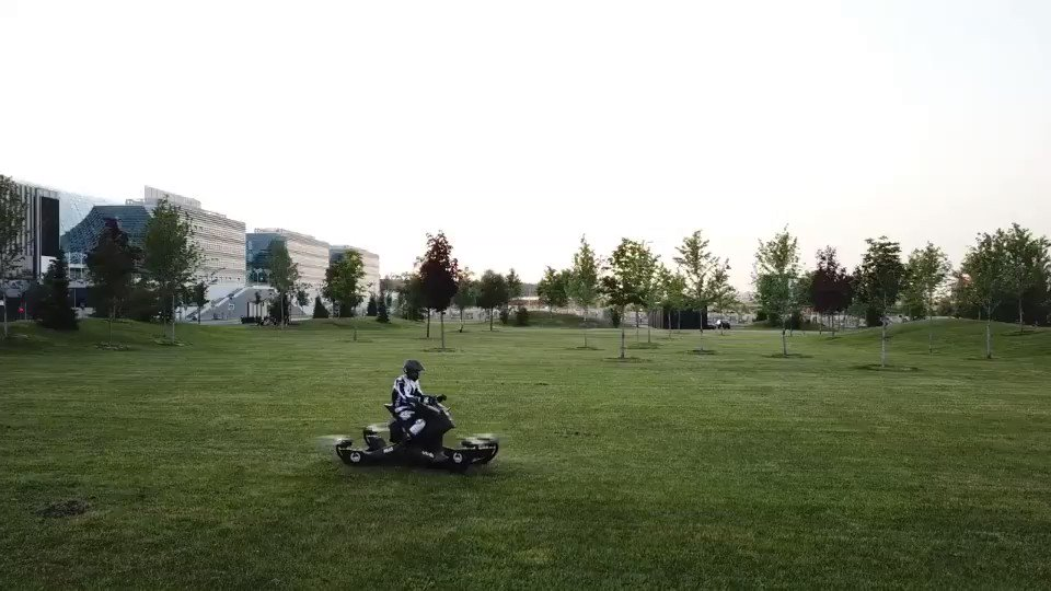 Hoverbike S3 Flight With MX Champion Malikov  https://t.co/TrbO0T9Vge  #Hoverbike #flyingbike #Hoversurf #technology