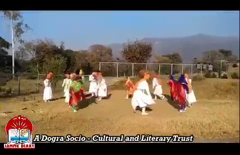 #Kudd is a male dominant #folkdance form of #Jammu division. It is mostly performed to please local deity in harvesting season.This Kudd dance presentation is somehow different involving female students choreographed by Saguna Khajuria & music instruments guided by Arvind Brahmnu pic.twitter.com/cKMF34b0SK