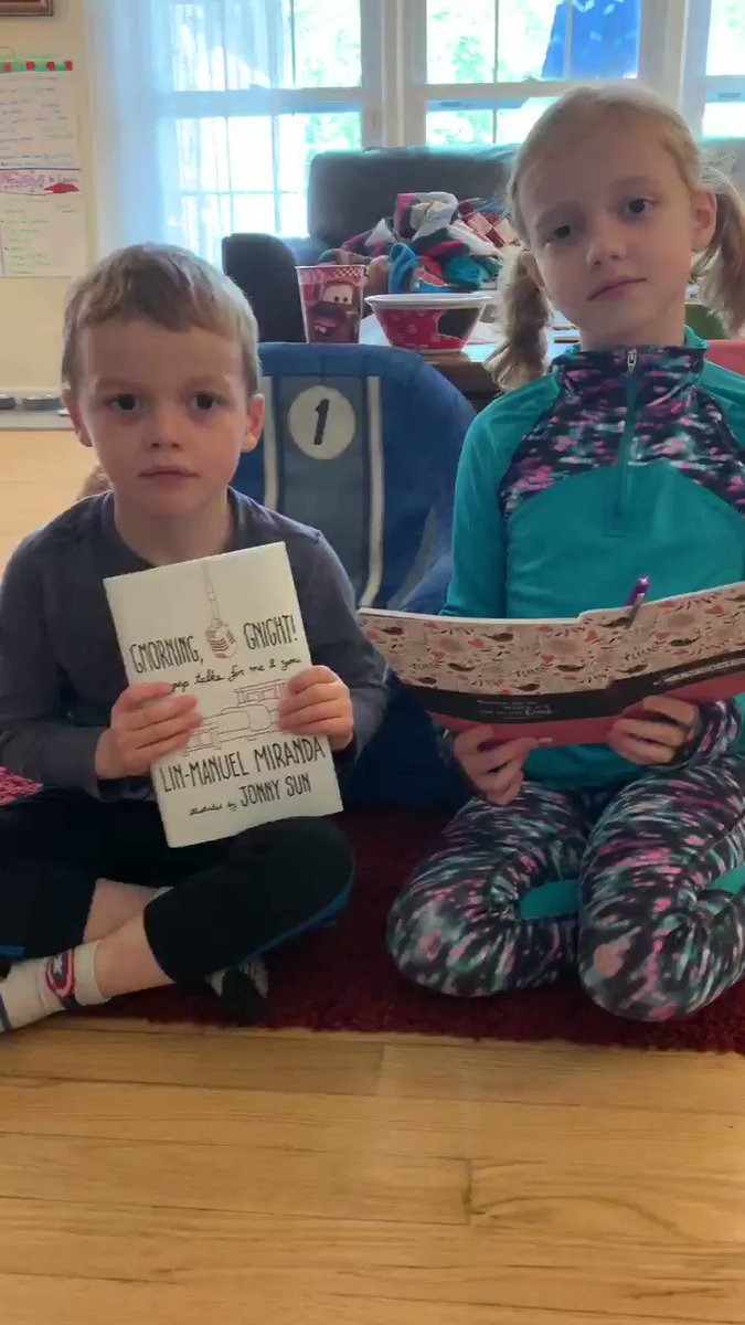 """<a target='_blank' href='http://twitter.com/Lin_Manuel'>@Lin_Manuel</a> , thank you for so much! Today we read some of your G'morning and G'night pep talks during """"mom school."""" We made one of our own to share with you. You're definitely a favorite in our house and a part of our important people week! <a target='_blank' href='https://t.co/kCuUEbqeDF'>https://t.co/kCuUEbqeDF</a>"""