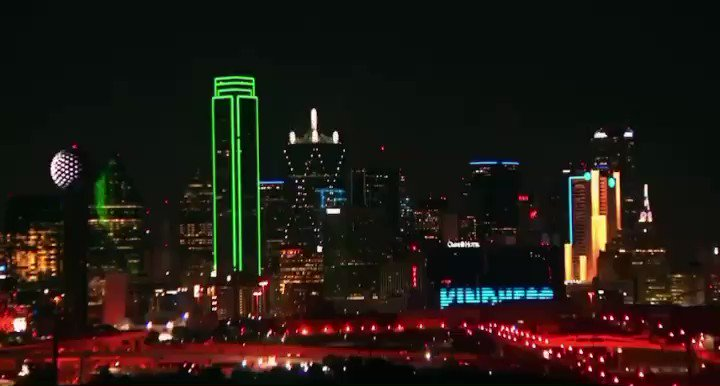 """""""Kindness is not canceled."""" The Dallas skyline tonight. ❤️ @NBCDFW"""