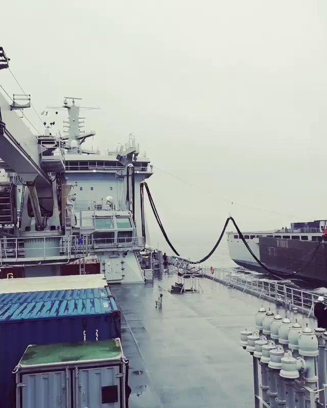.@RFATidespring conducting Replenishment at Sea with @RFALymeBay via C. Vickers