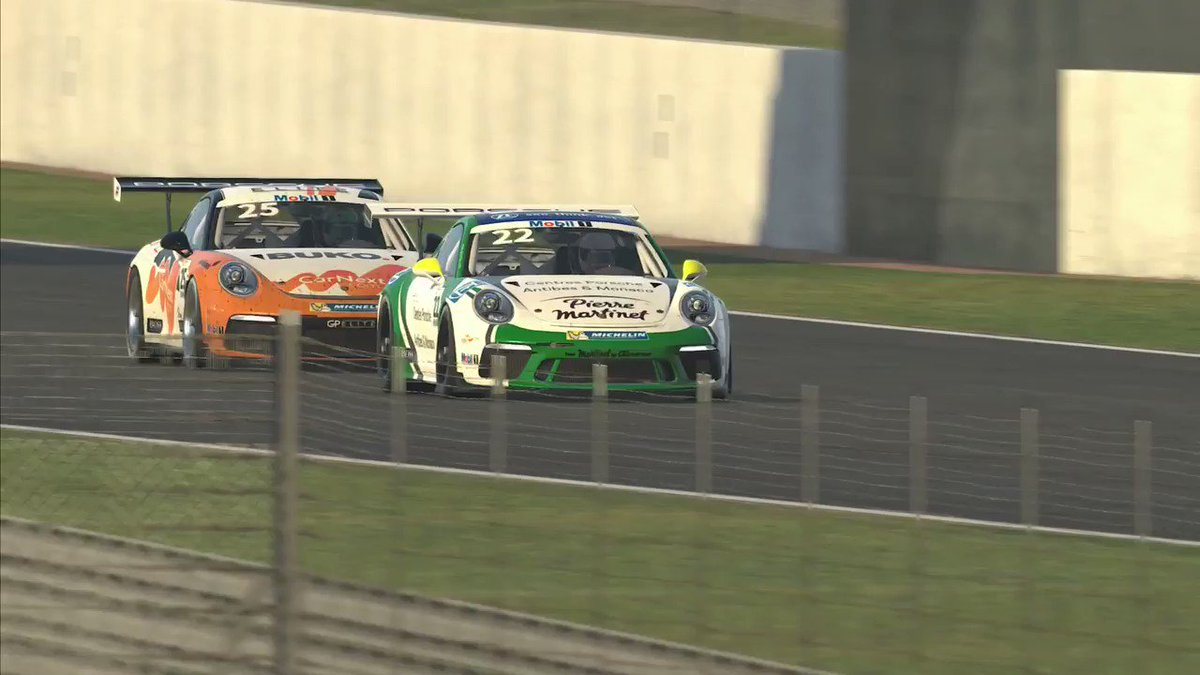 #PorscheMobil1Supercup / #virtualPMSC: Cool race action in the Porsche Mobil 1 Supercup Virtual Edition! @AyhancanGuven and @LarrytenVoorde have been embroiled in some thrilling battles in the six races so far. @iRacing #Porsche #911GT3Cup