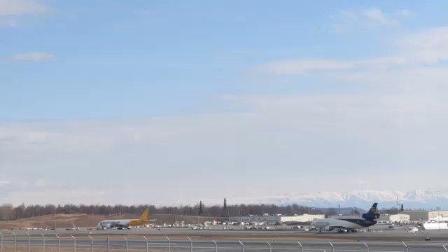 Live (almost) from Anchorage. Next stop Mirabel #Antonov225 #Antonov #nolinor