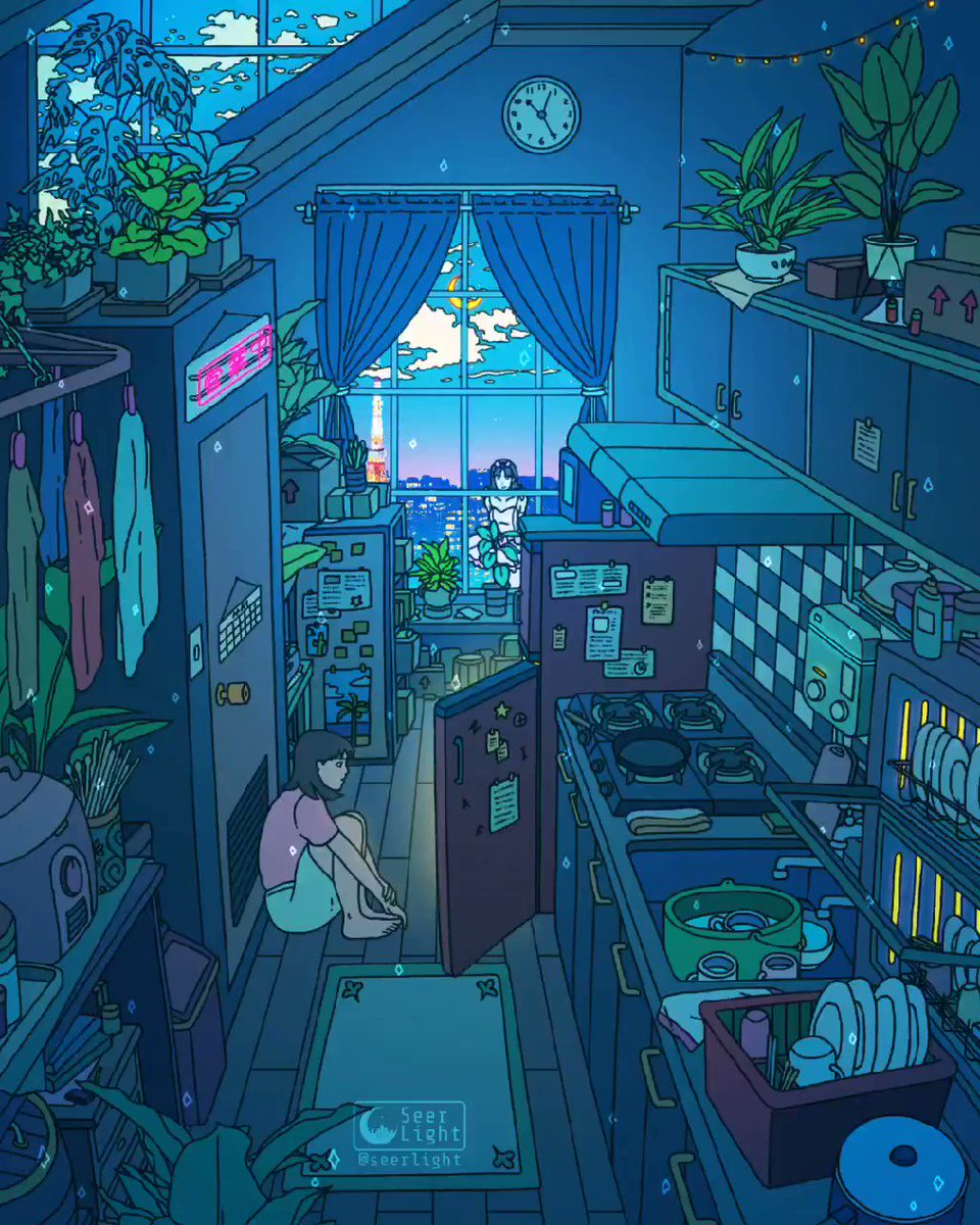 Seerlight On Twitter Perfect Blue For This One I Wanted To Recreate Mima S Kitchen With My Own Twist To It This Live Wallpaper Will Be Up In My Patreon In