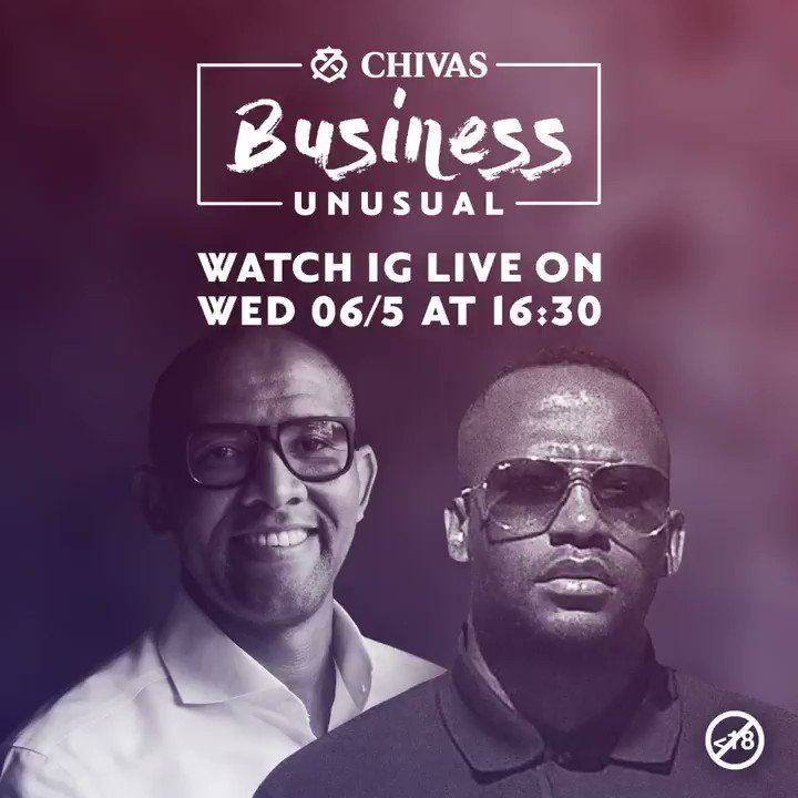 Join us on IG LIVE @chivasregalsa at 16:30 today for Chivas Business Unusual, the show that blends new business challenges with expert advice. @Andile_Khumalo speaks to Kgolo Mthembu @Kgolo_Daguru , an entrepreneur, creative director and owner of Kgolo Projects.