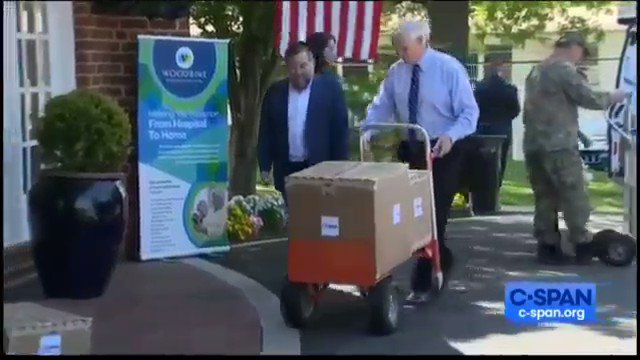 Mike Pence caught on hot mic delivering empty boxes of PPE for a PR stunt.