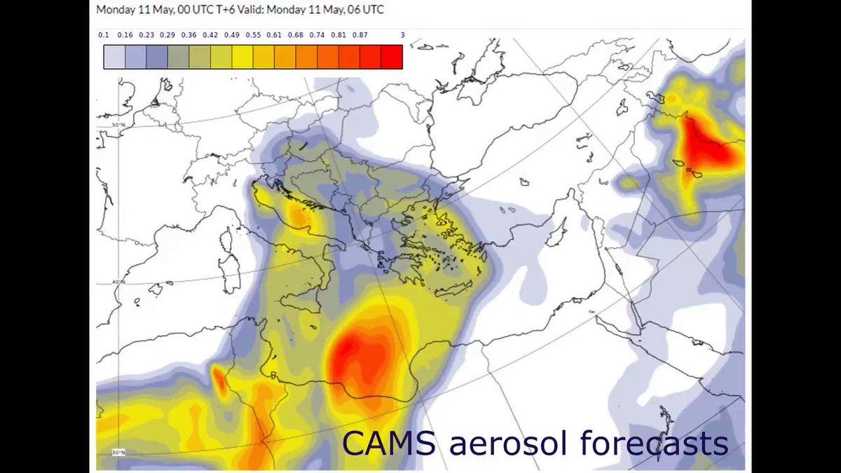 Σε δύο κύματα και η μεταφορά σκόνης από τις ακτές της Αφρικής προς την χώρα μας με βάση τα προγνωστικά δεδομένα της υπηρεασίας @CopernicusECMWF
