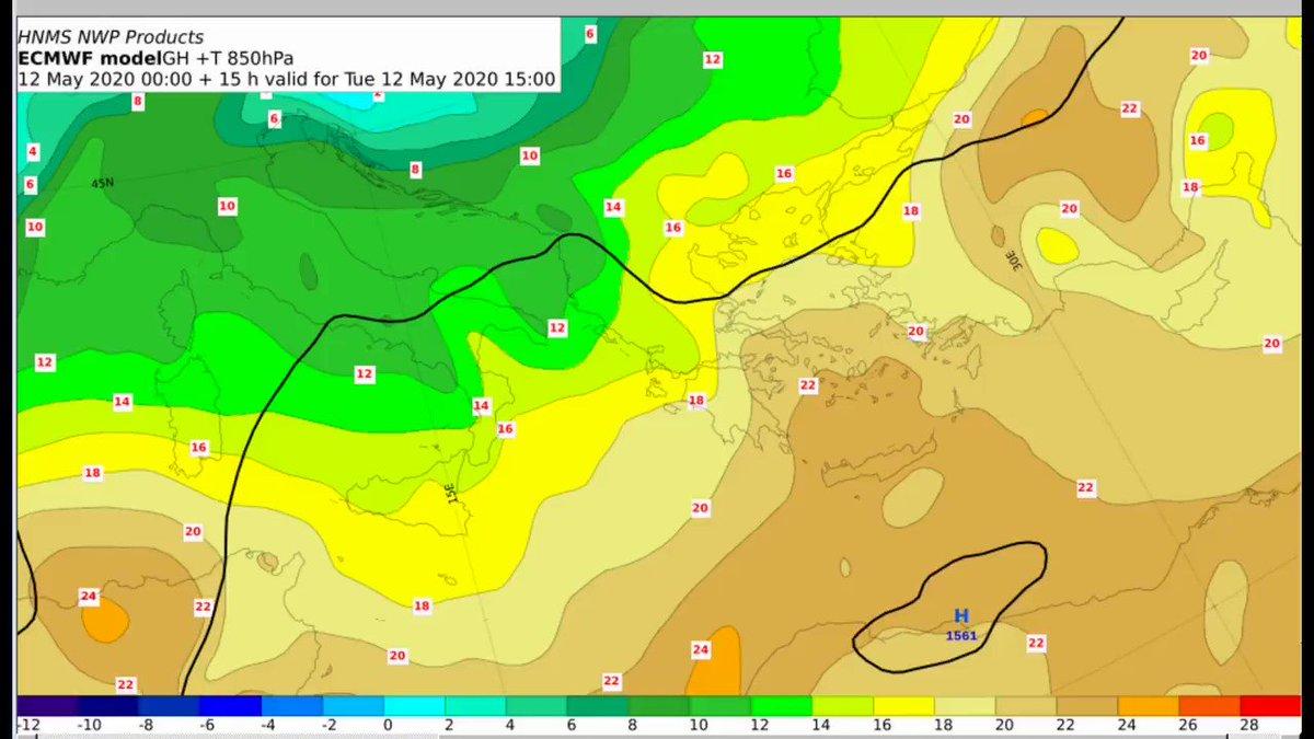 Μετά την πρόσκαιρη υποχώρηση της θερμοκρασίας την Τετάρτη, ένα νέο-ισχυρότερο - κύμα ζέστης θα επηρεάσει τη χώρα από την Πέμπτη, με θερμοκρασίες που από την Παρασκευή έως τη Δευτέρα θα φτάσουν τους 35 με 38 °C Στο video η θερμή μεταφορά 850 hPa hnms.gr/emy/el/forecas…