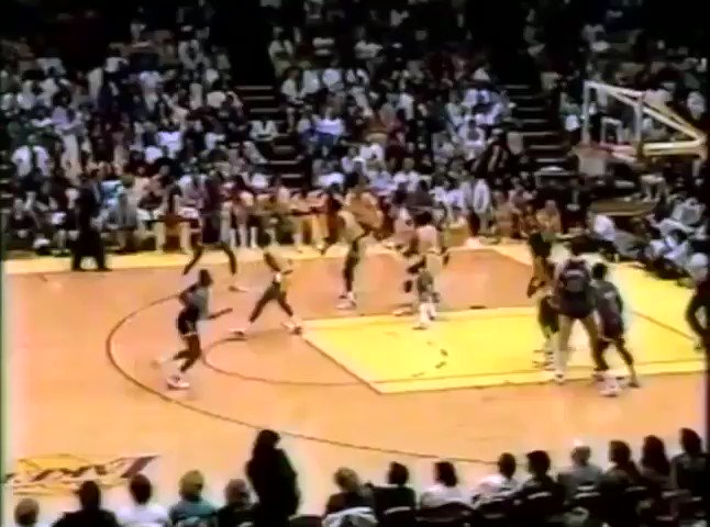 The Lakers and Knicks brawl at The Forum in '88. Pat Cummings takes on A.C. Green & Michael Cooper; all three players ejected.  January 22, 1988.