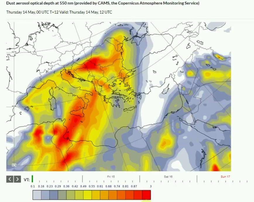 Οι συγκεντρώσεις Aφρικανικής σκόνης θα παραμείνουν αυξημένες στην ατμόσφαιρα το επόμενο τριήμερο , όπως προβλέπεται από την υπηρεσία @CopernicusECMWF Το Σαββατοκύριακο οι άνεμοι θα πνέουν μεταβλητοί ασθενείς και σταδιακά στη Θράκη και το Αιγαίο βόρειοι μέχρι μέτριοι άνεμοι