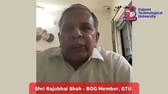 "Message of Shri Rajubhai Shah,BOG Member of GTU on GTU Foundation day. He is also Managing Director of Harsha Engineering. Join National Webinar* on ""नए भारत के लिए बौद्धिक संपदा - INTELLECTUAL PROPERTY FOR NEW INDIA"" Registration Link: bit.ly/IP4NewIndia"