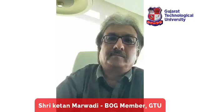 "Message of Shri Ketan Marwadi, BOG Member of GTU on GTU Foundation day. He is also Chairman and Managing Director Marwadi Shares and Finance Ltd., Rajkot, Gujarat. Join National Webinar on ""नए भारत के लिए बौद्धि संपदा Registration Link: bit.ly/IP4NewIndia #GTUFoundationDay"