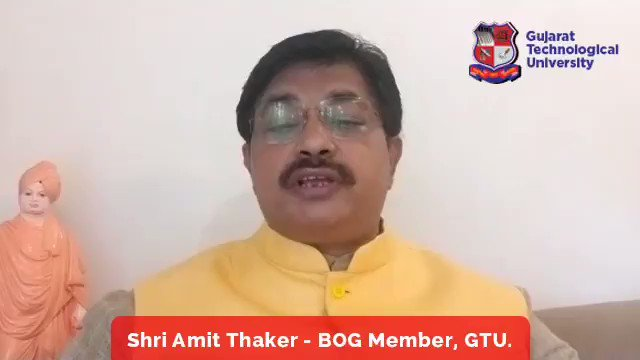 """Message of Shri Amit Thaker, BOG Member of GTU on GTU Foundation day. He is also Director of Lokmanya Group of Collage. Join National Webinar* on """"नए भारत के लिए बौद्धिक संपदा - INTELLECTUAL PROPERTY FOR NEW INDIA"""" Registration Link: bit.ly/IP4NewIndia #GTUFoundationDay"""