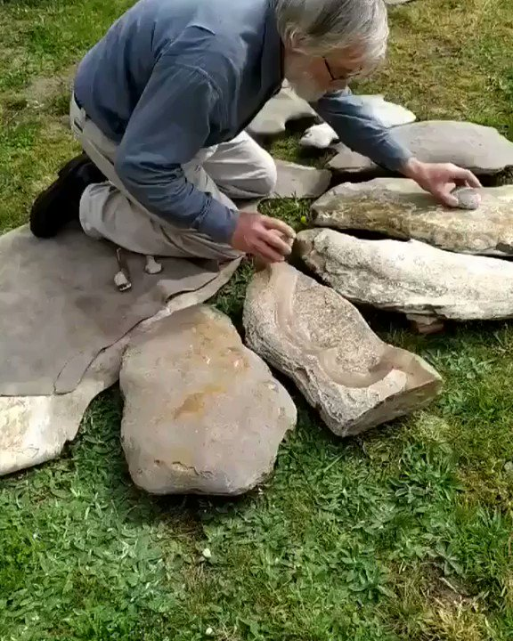 Archaeologist Dr. Jean-Loup Ringot specializes in prehistoric music, here he demonstrates a Lithophone. 🔊