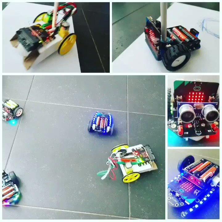Image for the Tweet beginning: 4 #microbit auto's getest. @Kitronik