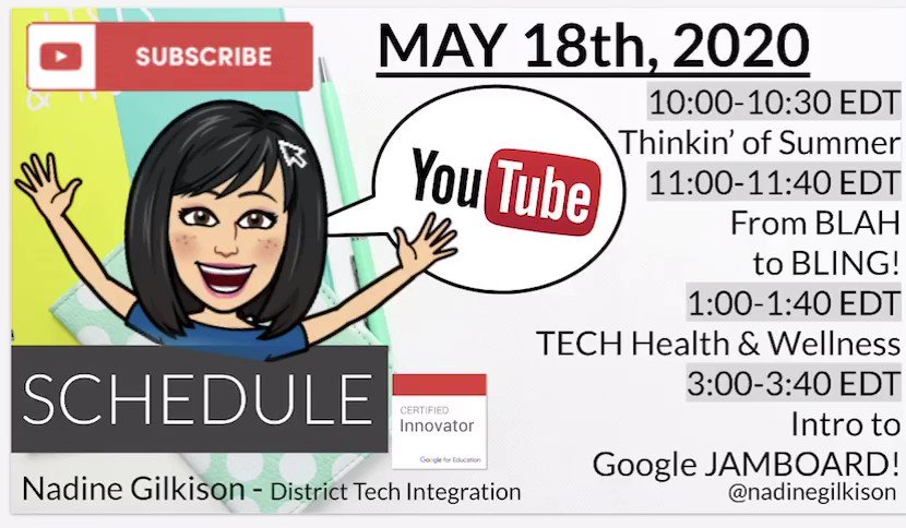 Virtual PD with Nadine G Schedule is up for tomorrow! With guests @ChrisYoungEDU @MissGalang @TechCoachSusan ⬇️♥️👩🏻💻👏🏻👏🏻 Link to Subscribe below to view LIVE or on Replay #inelearn youtube.com/channel/UChUeK…