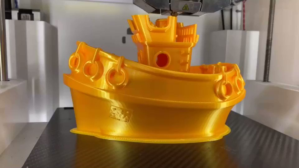 """How to make your print stand out?  You may find the answer from this dreamy """"Golden ship""""!  By adding bright effect materials into PLA, you could simply get a silky print with #eSUN eSilk-PLA filament.   Get the dark yellow silk filament now:"""