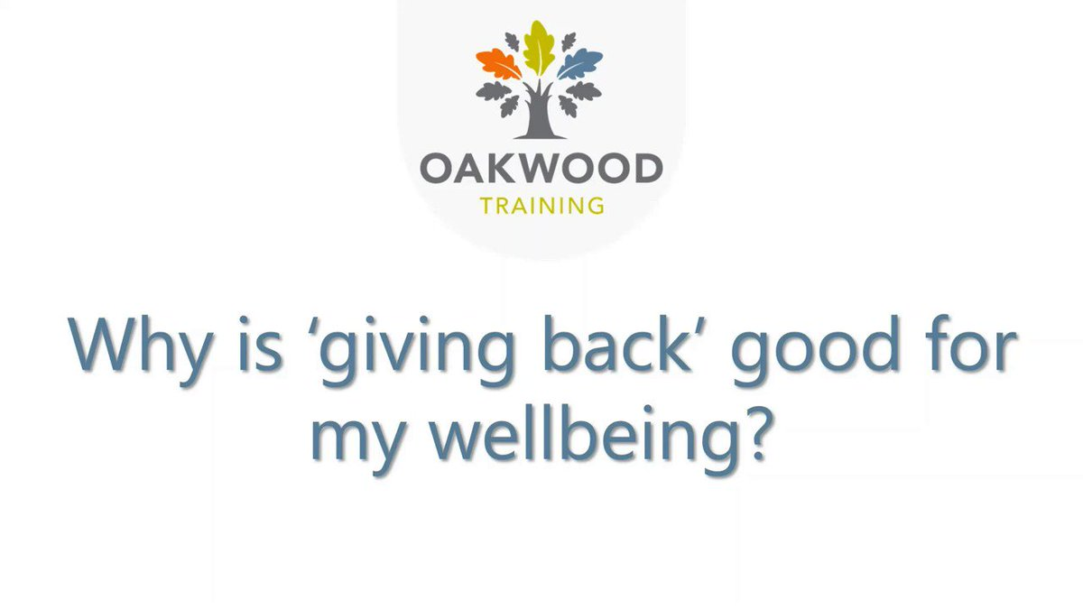 Why is Giving Back good for our wellbeing? Our mental health trainer+experienced counsellor Emma lets us know why #KindnessMatters during these challenging times... See Emmas full video here - oakwoodtraining.co.uk/looking-after-… #MentalHealthAwarenessWeeek #Kindness