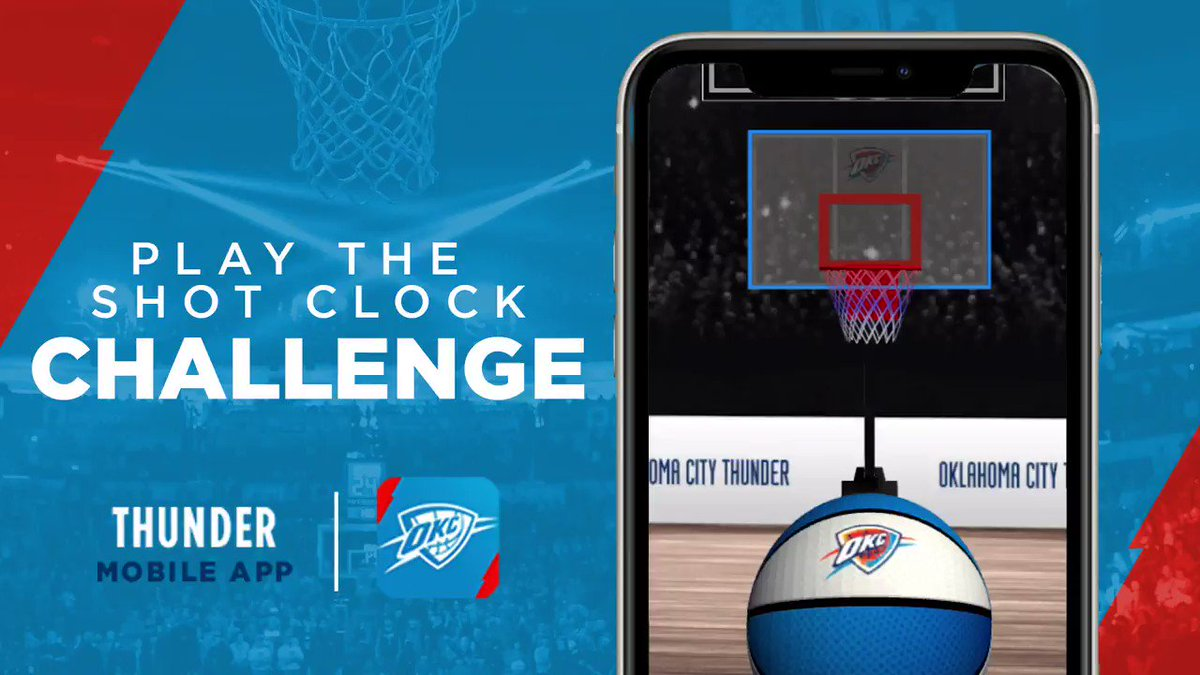 The clock is ticking! ⏰   Download the Thunder mobile app and help us go head-to-head against other teams in the #ShotClockChallenge!  iPhone » https://t.co/O88IqjR2Cu Android » https://t.co/mD9bypTVWI https://t.co/FZACbXxwbL
