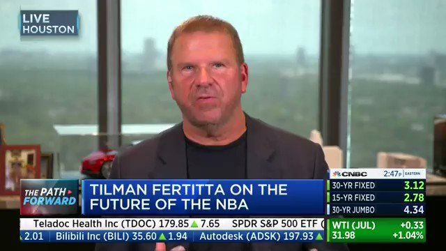 Houston Rockets owner Tilman Fertitta: The players want to play. I see the NBA playing. Everybody wants to play. America wants to see the NBA play and I look forward to us playing games later this summer and playing some regular season games and of course having a NBA champion.