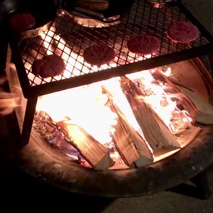 Fire + meat = dinner. #OpenFireCooking #CastIronCooking