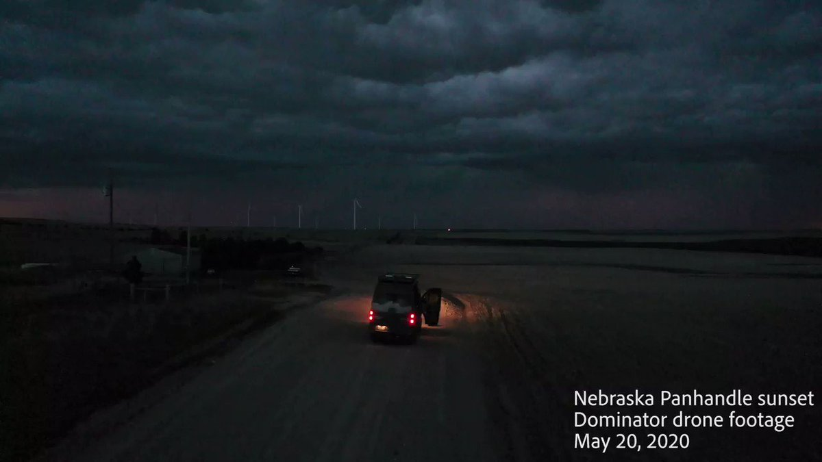 HIGH PLAINS INSANITY with incredible cloud-to-ground lightning along convective line in the Nebraska Panhandle tonight with orange of the setting sun. Intercepted by Dominator Drone! @RadarOmega_WX