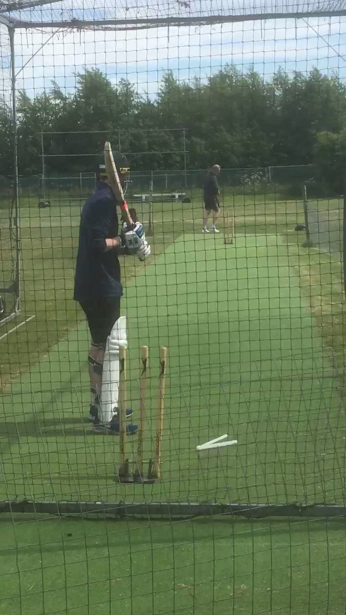 Spencer Senior and Spencer Junior taking first use of the controlled netting facility at the Jubilee Recreation Ground.