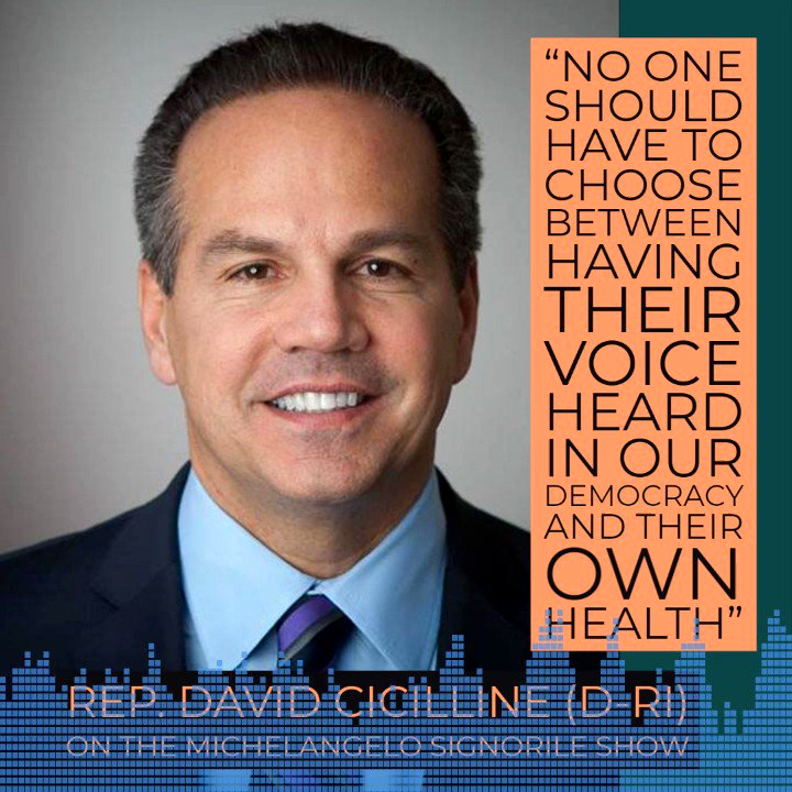 """""""no one should have to choose between having their voice heard in our democracy and their own health"""" @RepCicilline / @davidcicilline spoke about the need for expanding vote-by-mail during the #CoronavirusOutbreak on The @MSignorile Show"""