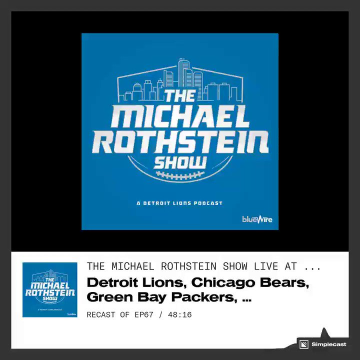 New The Michael Rothstein Show! We cover the NFC North with @RobDemovsky (#Packers) @CourtneyRCronin (#Vikings) & @DickersonESPN (#Bears) & me (#Lions). Check it out as we break down the now & later of the division: Apple bit.ly/nfcnorthroundt… Spotify bit.ly/espnnfcnorth