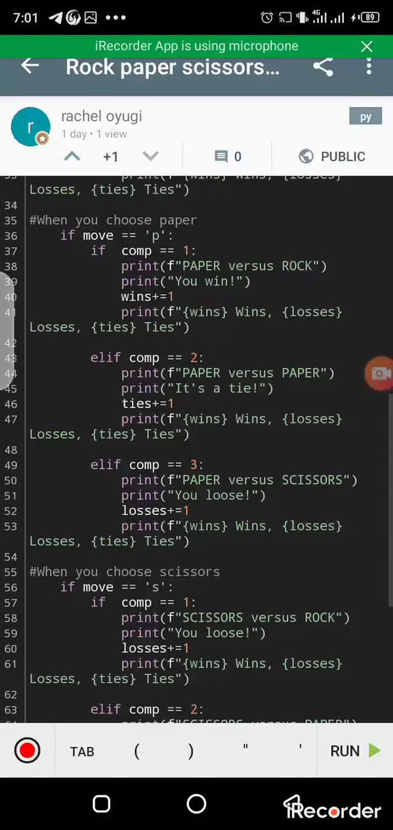 Day 5 of #100DaysOfCode -created a simulation of the rock paper scissors game using python #WomenWhoCode #CodeNewbie #womenintech #pythonprogramming #python #MachineLearning #YouCanMakeIt #youth #WomenInSTEM #coding #JetBrainspic.twitter.com/RfE9GEXOUr