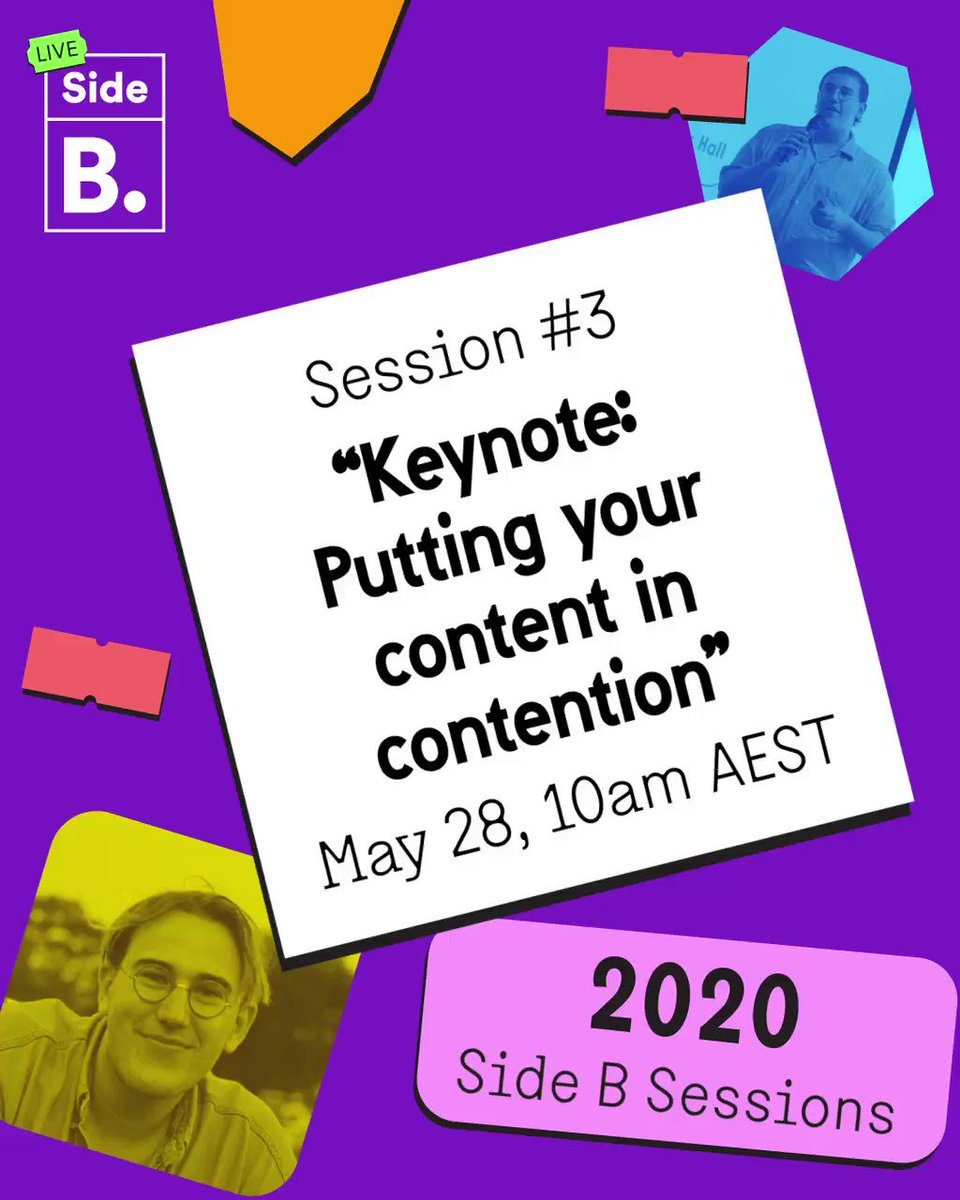 "Content has just seconds to strike a chord with its viewers. Now that we have your attention, check out Side B Session #3: Keynote: ""Putting your content in contention"" 👉sign up here https://t.co/aeZlZ8Uq1R #sidebsessions #content https://t.co/ZjnilqMEpF"