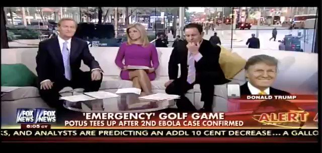 """Trump is golfing today.  In 2014 on Fox and Friends he criticized Obama for golfing when there were *two cases* of Ebola in the United States saying, """"it sends the wrong signal"""" and he should have given up golf as president """"to really focus on the job."""""""