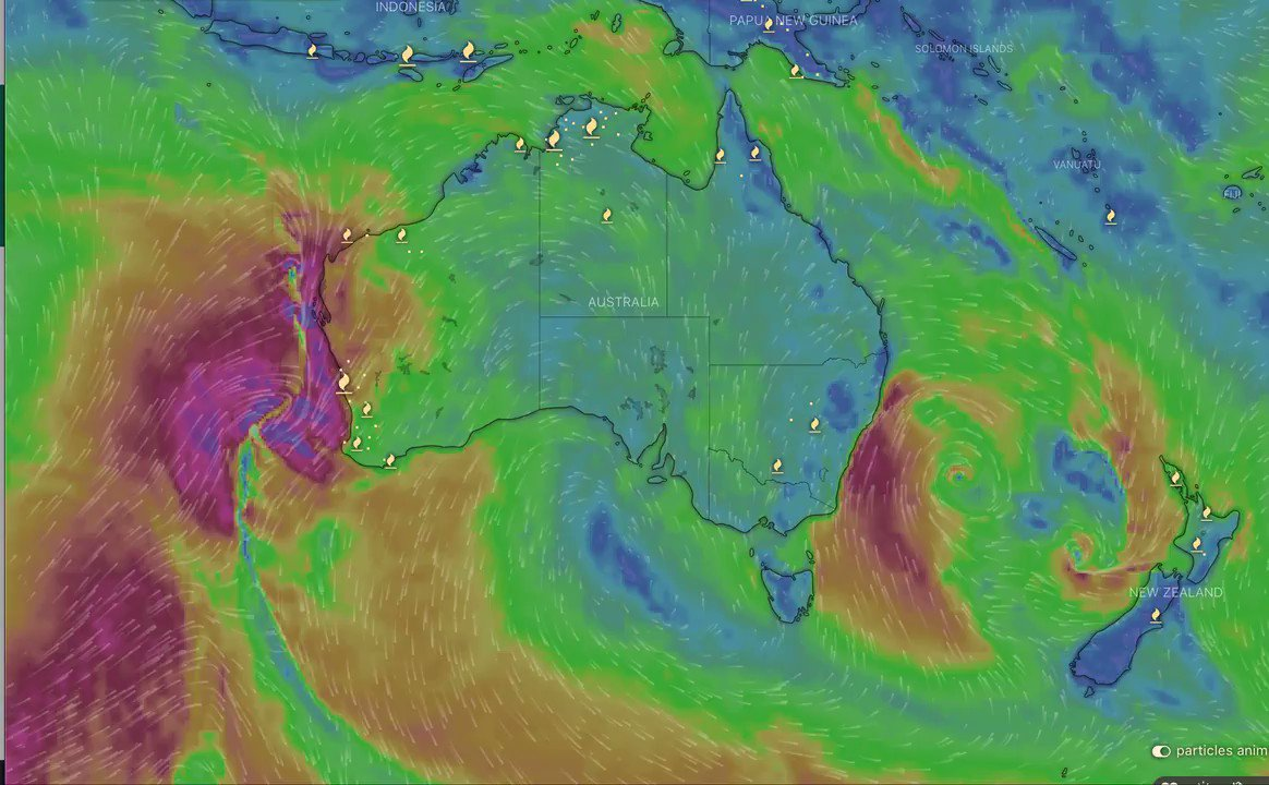 East coast Aus chill special delivery from Antarctica all way up thru north Queensland Meanwhile, West in for bigger & better as remnant cyclone from north pushes down to join intense cold front from south Climate change brings extreme weather - even in winter @windyforecast