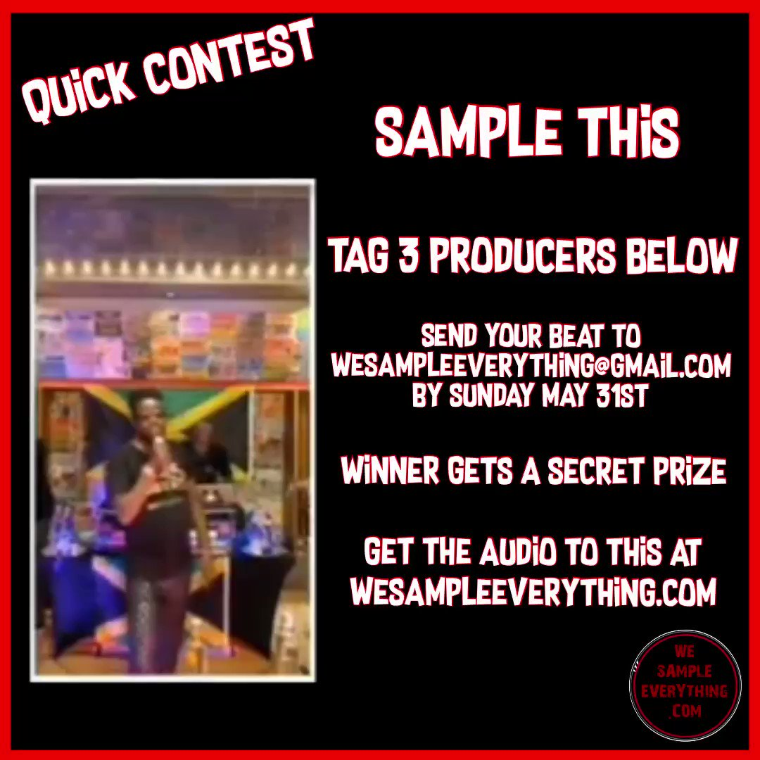 Contest, sample this then send your finished beat to wesampleeverything@gmail.com #Producers #beats #sampleflips #wesampleeeverything #instrumentals #hiphop #beenievsbounty #BeenieMan #bountykilla #beatmakers #production #musicpic.twitter.com/9Y8LzX5ZlD