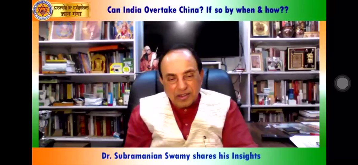 """Dr Swamy ji your knowledge & vision can make SuperPower  """"Despite having •young population •lot of agriculture land  •plenty of water •real genius brains but we are doing 'coolie work' we should motivate our ppl for productivity raising innovations"""" : Dr @Swamy39 #GyanGangapic.twitter.com/fidtTJqq6l"""