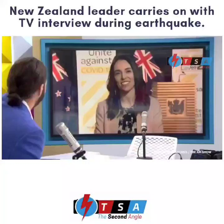New Zealand Prime Minister Jacinda Ardern barely skipped a beat when an #earthquake struck during a live television interview Monday morning. Monday's magnitude 5.6 quake struck in the ocean abt 62 miles northeast of Wellington, acc to the U.S. Geological Survey.  #NewZeland pic.twitter.com/oh6aeuCYWE