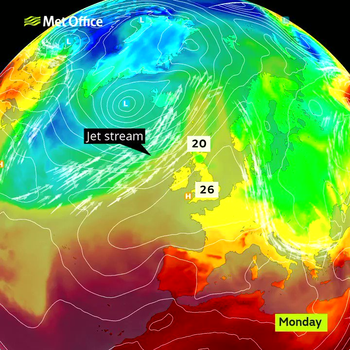 The #Jetstream will remain across or to the north of the UK this week, leading to largely #dry and #warm weather pic.twitter.com/ZGFhylKWET