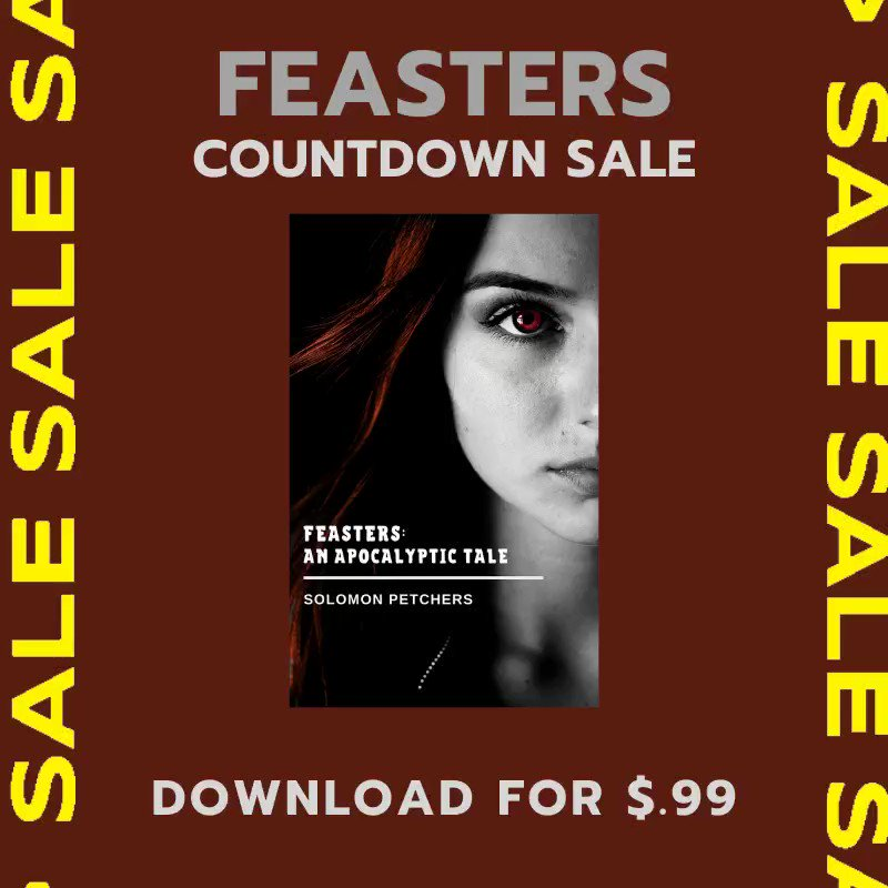 I'm happy to announce that Feasters will be available for $.99 for the next 7 days on @AmazonKindle !  Why? 1. It's Memorial Day! 2. May is #ZombieAwarenessMonth 3. Tomorrow is World Dracula Day #WritingCommunity #HorrorFamily #indieauthors #KindleDeals