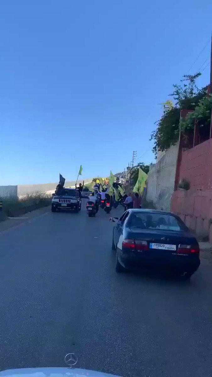 Hezbollah activists mass along Lebanons southern border today to celebrate the 20 year anniversary of Israels withdrawal from the territory. #Lebanon #Israel