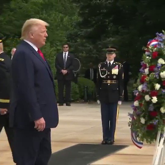 Trump seemed to have significant trouble balancing as he approached the wreath today at Arlington Cemetery.