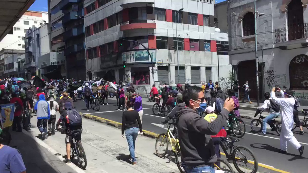 Protests erupted across #Ecuador today. In #Quito hundreds took to the streets against massive cuts in public spending and layoff, including #Moreno's delegation of presidential powers to secretaries of his cabinetpic.twitter.com/CAo3g8tpie