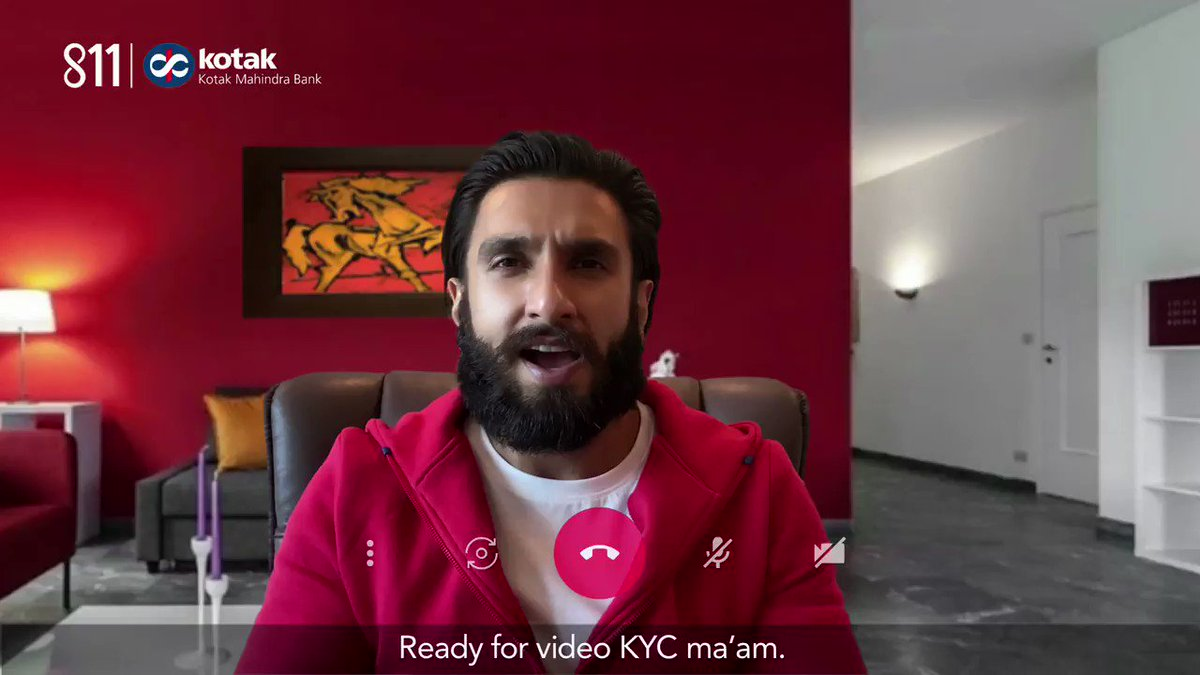 Kotak 811 introduces India's first zero-contact, video KYC savings account, so you can #BankFromHome & live the #811VKYCLife! Let #RanveerSingh show you how to do your own KYC through a video call, right from home. To know more, visit: