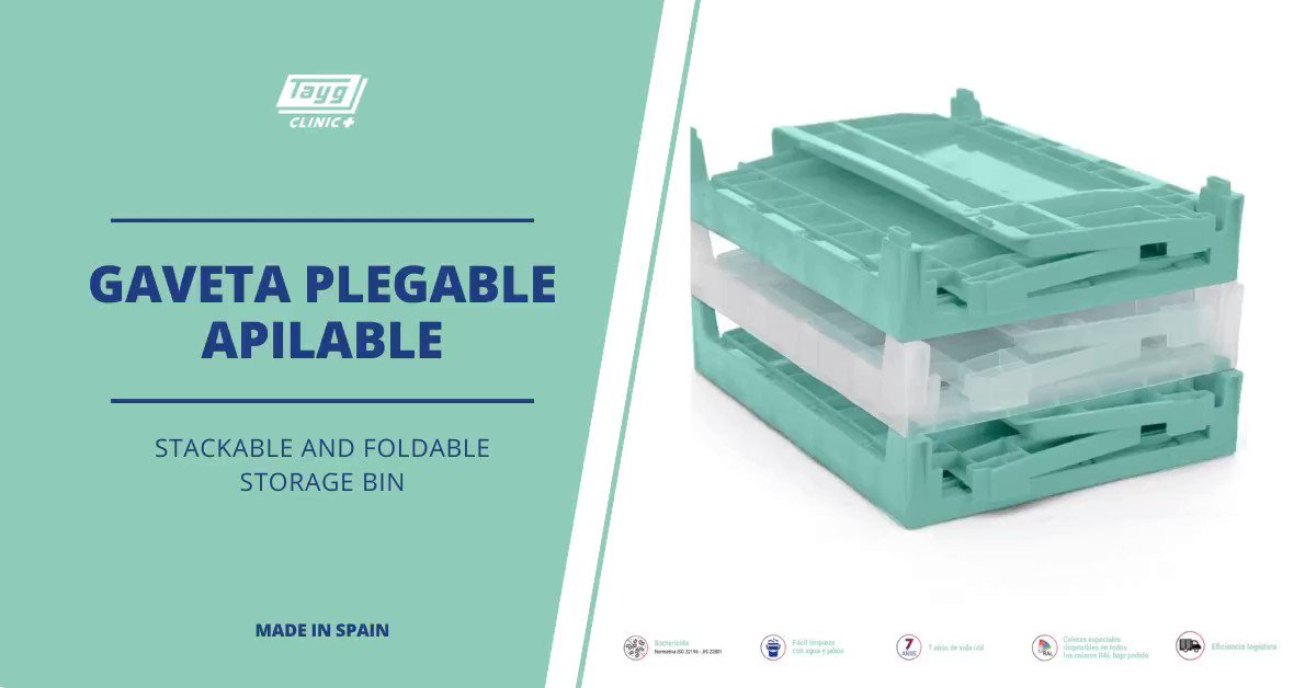 [ENG] Tayg Clinic's stackeble and foldable storage bins, besides having the #bactericide component that ensure optimal performance, are also easy to clean. ⠀ All you need is #water and #soap so you can reuse it!⠀  #MedicalStorage #TaygClinic #Prevención #limpieza #salud pic.twitter.com/xifjxVVxY5