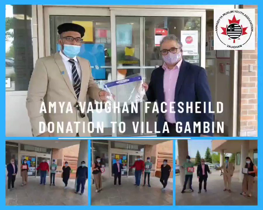 Ahmadiyya Muslim Youth Association for City of Vaughan (Majlis Muqami) donated faceshields to  #FrontLineHeroes of Villa Leonardo Gambin Nursing Home.  It is our desire, wish and objective to serve humanity. We'll continue to help frontline heroes in fight against #COVIDー19 pic.twitter.com/ib6t9w7KUy – at Villa Leonardo Gambin