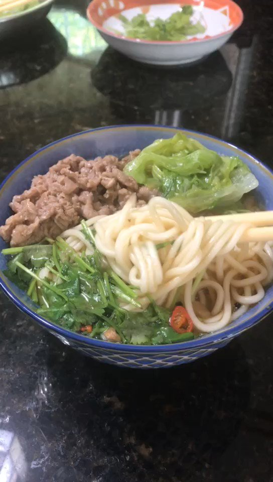 Spicy Taiwanese Beef Noodle Soup is always my go-to, however, during this unprecedented time... it's hard to go out now. Today, I made a homemade bowl of deliciousness. The fragrant of the spices made the whole house smells so good. #noodle #yummy #mmm #noodlesoup #lunch #yum