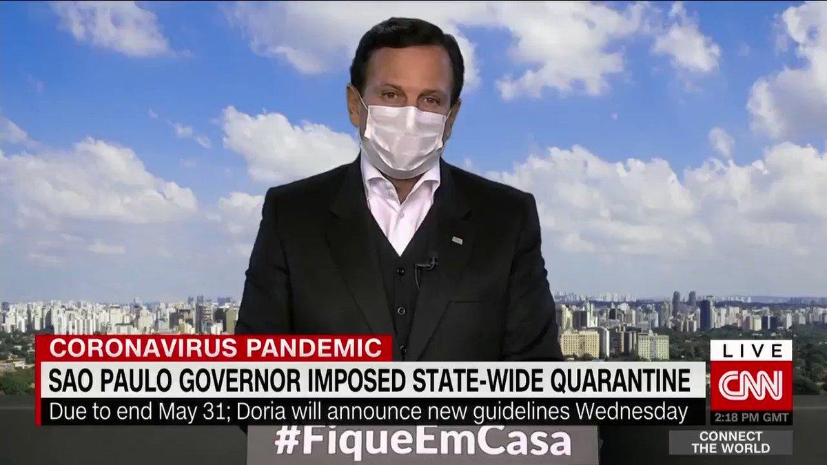 """The Governor of #SaoPaulo @jdoriajr tells me #Brazil is """"combating two viruses: the Coronavirus and the #Bolsonaro virus"""".pic.twitter.com/u0DkFGKSj6"""