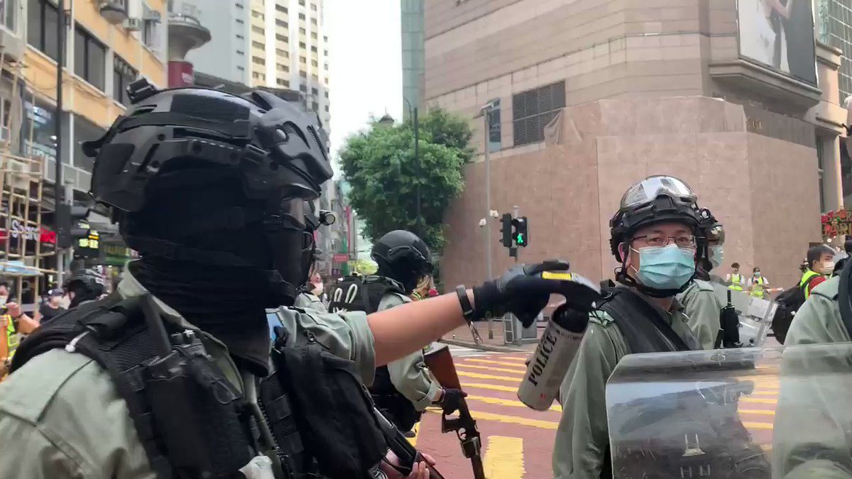 My #CNN crew and I getting pepper sprayed in #HongKong during the protests over #NationalSecurityLaw. Another #HongKongProtester arrested taking toll to over 240 today
